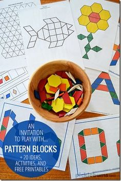 A simple invitation to play with pattern blocks - plus lots of ideas, activities and resources for pattern block play blocks Pattern Blocks - 20 ideas activities & free printables Preschool Learning, Kindergarten Math, Early Learning, Toddler Activities, Preschool Activities, Preschool Alphabet, Alphabet Crafts, Math Patterns, Shape Patterns