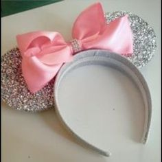Accessories - Minnie Mouse Ears Headband Pink & Silver & Bow