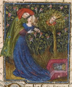 Lovers at Fountain of Narcissus | Roman de la Rose | Jean Semont | ca. 1390 | The Morgan Library & Museum