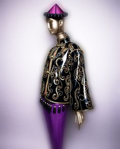 Yves Saint Laurent (French, 1936–2008). Ensemble, 1977. Coat of black silk ciré embroidered with gold, black and white silk, and gold sequins; pants of purple silk ottoman; hat of pink quilted silk satin, black silk velvet, and black leather. Courtesy of Fondation Pierre Bergé–Yves Saint Laurent, Paris | Photography © Platon #ChinaLookingGlass #AsianArt100