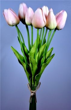 Real Touch Mini Tulip Bundle in Pink with Subtle Green Highlights