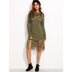 Olive Green Eyelet Geometric Knit Fringe Trim Sweater Dress ($26) ❤ liked on Polyvore featuring dresses, army green dress, white eyelet dress, white fringe dress, geometric print dress and olive dress