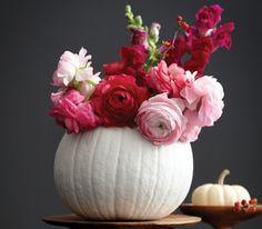 Pumpkin decorating: Great for Thanksgiving centerpieces and Halloween DIY Pumpkin Vase, Pumpkin Centerpieces, Thanksgiving Centerpieces, Diy Pumpkin, Pumpkin Flower, Wedding Centerpieces, Thanksgiving Table, Centerpiece Ideas, Pumpkin Ideas