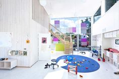Modern Day Care Center Architectural Design Inspired from The Petal of Marigold Flowers by Stein Halvorsen - 500 Design - Best Architecture . Daycare Design, Kids Daycare, Daycare Ideas, School Building Design, School Design, Just Kids, Kindergarten Design, Interior Architecture, Interior Design