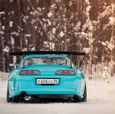 Turquoise Toyota supra in the snow. Rear shot looking low Tuner Cars, Jdm Cars, Cl 500, Toyota Supra Mk4, Toyota Cars, Japanese Domestic Market, Drifting Cars, Japan Cars, Import Cars
