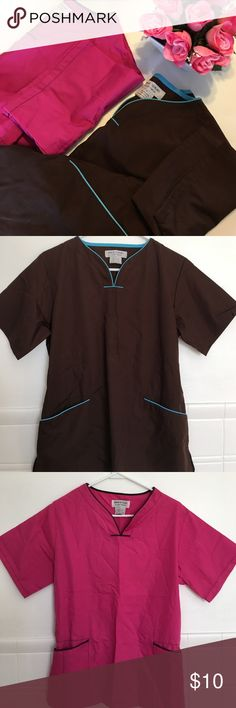 """Scrub top bundle M&M scrubs classic comfort. 25"""" long from shoulder to hem. Pit to pit 20""""elastic in back helps to provide room in waist area. Front pockets. Vee neck. Short sleeve. Price includes both the pink and brown.  65% polyester. 35% cotton M&M scrubs Tops"""
