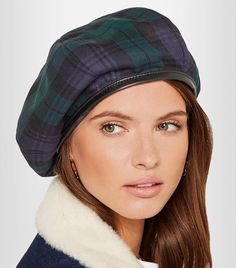 073a3a90 Leather-trimmed Tartan Wool Beret Beret Outfit, Wool Berets, Leather Hats,  Scottish