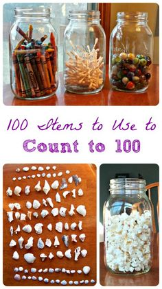 100 Items to use for counting, estimation jars and 100th day of school activities for kids
