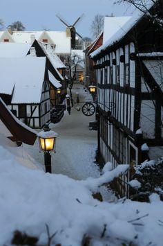 Snow in 'The Old Town' in Aarhus, Jutland, Denmark