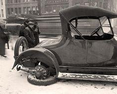 Broken Down Car. Early 1900s