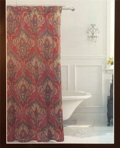 Raymond Waites Preston Rich Dark Red Paisley Fl Fabric Shower Curtain New