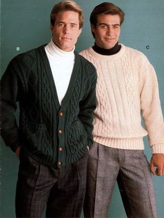 1990 Men's pleated pants turtlenecks and sweaters