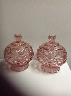 Moon and stars pair of pink lidded candy dish