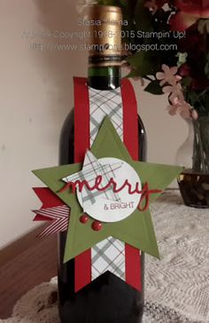Stampin' & Scrappin' with Stasia: Merry & Bright Star Wine Tag - Holly Jolly Greetings - SU