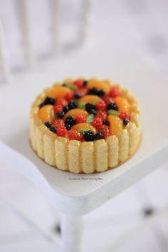 1/12 scale Mixed fruit charlotte cake by Almadejonge.deviantart.com on @DeviantArt