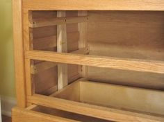 Wooden drawer slides on channels Wood Drawer Slides, Cabinet Slides, Diy Storage Drawers, Diy Garage Storage, Furniture Projects, Furniture Makeover, Diy Furniture, Wood Tool Box, Dresser Plans