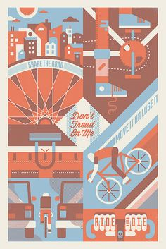 Bike Poster Illustration by Bandito Design Like how this one shows 4 scenes. Could use that idea for artist market. Modern Graphic Design, Graphic Design Inspiration, Retro Design, Creative Inspiration, City Poster, Typography Poster Design, Poster Designs, Design Posters, Poster Prints