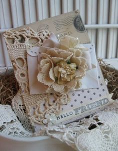 Pretty vintage card - love the burlap and doily!  Hello Friend