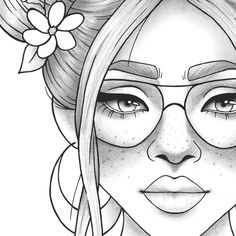Adult coloring page girl portrait and clothes colouring sheet floral pdf printable anti-stress relaxing zentangle line art Outline Drawings, Cool Art Drawings, Pencil Art Drawings, Girl Drawing Sketches, Cute Girl Drawing, Girl Drawings, Easy Drawings Of Girls, Cute Girl Sketch, Person Drawing