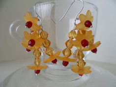 Original Lucite flower and Czech bead drop earrings by tcupcreations, $10.00