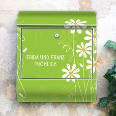 Wunschtext Briefkasten Motiv Gänseblümchen von banjado via dawanda.com