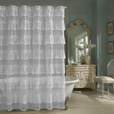Sheer Lace Priscilla Ruffle Shower Curtain,Old-fashioned, Pink, White, - Eleanor Brown Boutique