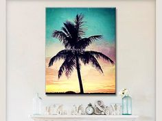 Seascape Palm Tree Wall Art Teal Coral Yellow by BeachHouseGallery,