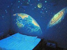 alternativa, el arte, la cama, dormitorio, azul