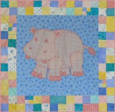 Stuffies Baby Quilt Pattern is Hilda the Hippo. The quilt pattern is available exclusively through my site here:   http://www.victorianaquiltdesigns.com/VictorianaQuilters/PatternPage/Stuffies/HildatheHippo.htm  #quilting #baby #stuffies