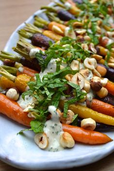Roasted Carrots w Mint Tahini Sauce Every Last Bite Vegetable Side Dishes, Vegetable Recipes, Vegetarian Recipes, Cooking Recipes, Healthy Recipes, Tofu Recipes, Cooking Tips, Oven Recipes, Sausage Recipes