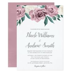 Wedding Flowers Mauve Watercolor Roses Floral Wedding Invitations - Beautiful wedding invitations featuring mauve and cream watercolor roses. Easily customize this elegant invite for your special day. Spring Wedding Invitations, Beautiful Wedding Invitations, Elegant Wedding Invitations, Wedding Invitation Cards, Bridal Shower Invitations, Invitation Ideas, Invitation Design, Pink Invitations, Wedding Stationery