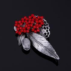 ラインストーンブローチ女性2016ファッション赤い花のブローチウェディングブーケラペルピンブローチ用スカーフグレー石