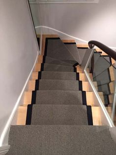 Client: Private Residence In North London Brief: To supply & install grey stair carpet with black border to stairs Stair Art, Stair Walls, Grey Stair Carpet, Carpet Stairs, Rustic Stairs, Modern Stairs, Stone Stairs, Concrete Stairs, Steel Stairs Design