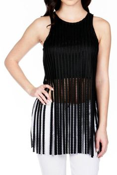 Wow Couture Textured Long-Fringe Tank