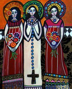 3 Mixed Media Angels Folk Art Folk Art Painting