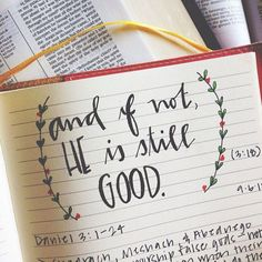 But if not… I still must trust that He is a good, gracious, and loving God. I must believe that whether I am rescued from my own fiery furnace, His ways are higher than my own. I cling to the reality that I must choose Him over any lesser idol in my life, and there eternal satisfaction & joy will be found.