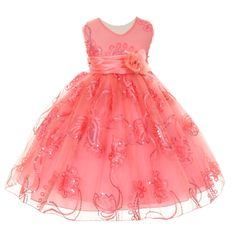 bd304df729db A stylish flower girl Easter dress for your little girl with intricate  detailing. The sleeveless coral tulle dress features floral embroidery, ...