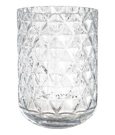 Large, clear glass vase with a textured finish. Inner diameter at top 6 in., height 9 in. Round Glass Vase, Clear Glass Vases, Wedding Vase Centerpieces, Wedding Vases, Vases En Verre Transparent, Comfy Cozy Home, Grand Vase En Verre, H&m Home, H&m Online