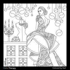 I colored this myself using Color Therapy App. It was so fun and relaxing! Free Adult Coloring Pages, Printable Coloring Sheets, Colouring Pages, Coloring Books, Princess Coloring, Princess Drawings, Color Fashion, Happy Planner, Art Inspo