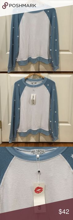 NWT Wildfox Size M Sweatshirt White with Blue Trim NWT Soft Long sleeve Sweatshirt Wildflower Tops Sweatshirts & Hoodies