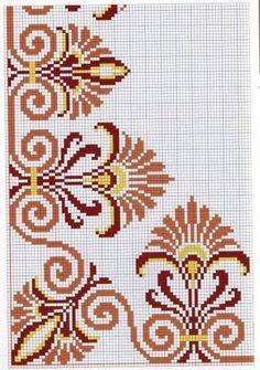 Não tenho a carta de cores, mas dá para fazer com as cores que desejarmos, bem. I don't have the color chart, but I can do it with the colors we want, as well as the width and the length. Cross Stitch Boarders, Cross Stitch Flowers, Cross Stitch Charts, Cross Stitch Designs, Cross Stitching, Cross Stitch Embroidery, Embroidery Patterns, Hand Embroidery, Cross Stitch Patterns
