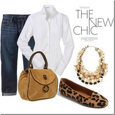 Love the classic look of jeans with tailored white shirt and the surpise element of the cheetah print shoes!