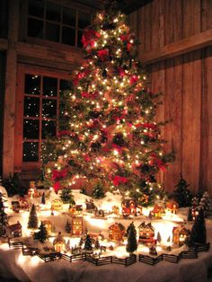 A beautiful Christmas village display idea! Would work well with almost any Department 56 village...                                                                                                                                                      More