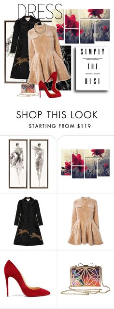 """Untitled #1446"" by lindagama ❤ liked on Polyvore featuring Trademark Fine Art, Gucci, J.W. Anderson, Christian Louboutin, Valentino, clutches, dresses, fur and winterstyle"