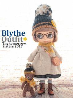 ◆Blythe Outfit◆ネオブライス♪デニムスモッキングワンピ&コート9点セットNO80_ブライス本体・眼鏡は付属しません。