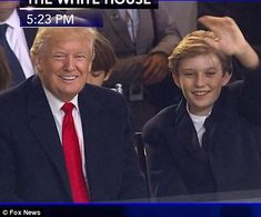 The president and his youngest son seemed to enjoy their time together and Barron kept smi...