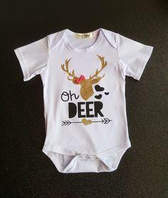 f76db0aca9e Oh Deer Bodysuit Onesie Gold Deer Antlers Pink Bow 0 6 mo Infant Grl Baby  Shower Gifts Newborn
