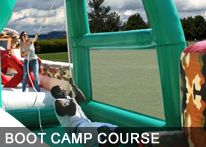 Are you ready?  Challenge yourself and an opponent to see if you have what it takes to complete BOOT CAMP!  This incredible course offers, dives, dips, swings, and slides!  Also available in one, two, or three pieces.  http://texasentertainmentgroup.com/attractions/obstacle-courses/boot-camp-obstacle-course/