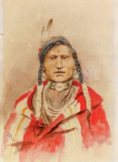 Charles Marion Russell >> Portrait of an Indian  |  (Watercolor, artwork, reproduction, copy, painting).