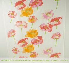 3+ Yds 1999 MARIMEKKO HURMIO Fujiwo Ishimoto Finland Cotton Fabric Floral Poppy #Marimekko